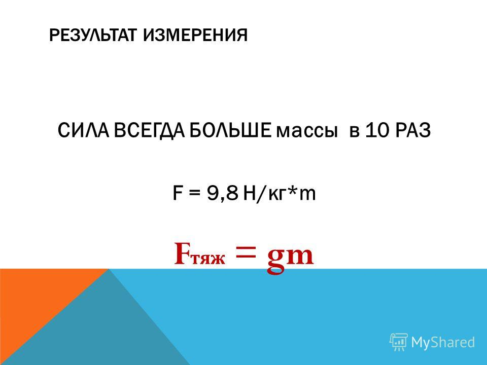 РЕЗУЛЬТАТ ИЗМЕРЕНИЯ СИЛА ВСЕГДА БОЛЬШЕ массы в 10 РАЗ F = 9,8 Н/кг*m F тяж = gm