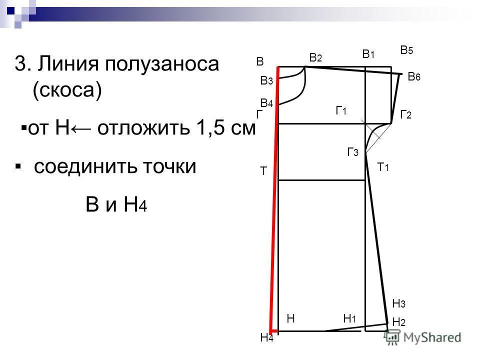 В Н В1В1 Н1Н1 Т Т1Т1 Г Г1Г1 В5В5 Г2Г2 Г3Г3 Н2Н2 Н3Н3 В2В2 В3В3 В4В4 3. Линия полузаноса (скоса) от Н отложить 1,5 см соединить точки В и Н 4 В6В6 Н4Н4