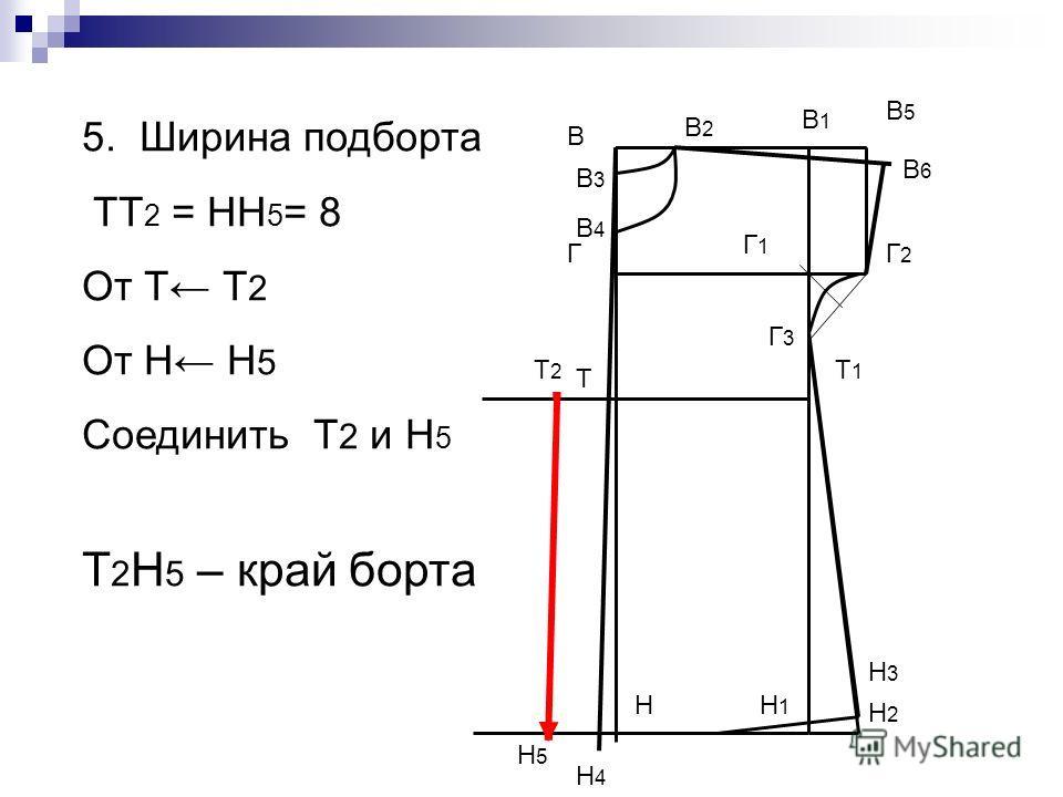 В Н В1В1 Н1Н1 Т Т1Т1 Г Г1Г1 В5В5 Г2Г2 Г3Г3 Н2Н2 Н3Н3 В2В2 В3В3 В4В4 5. Ширина подборта ТТ 2 = НН 5 = 8 От Т Т 2 От Н Н 5 Соединить Т 2 и Н 5 Т 2 Н 5 – край борта В6В6 Н4Н4 Т2Т2 Н5Н5