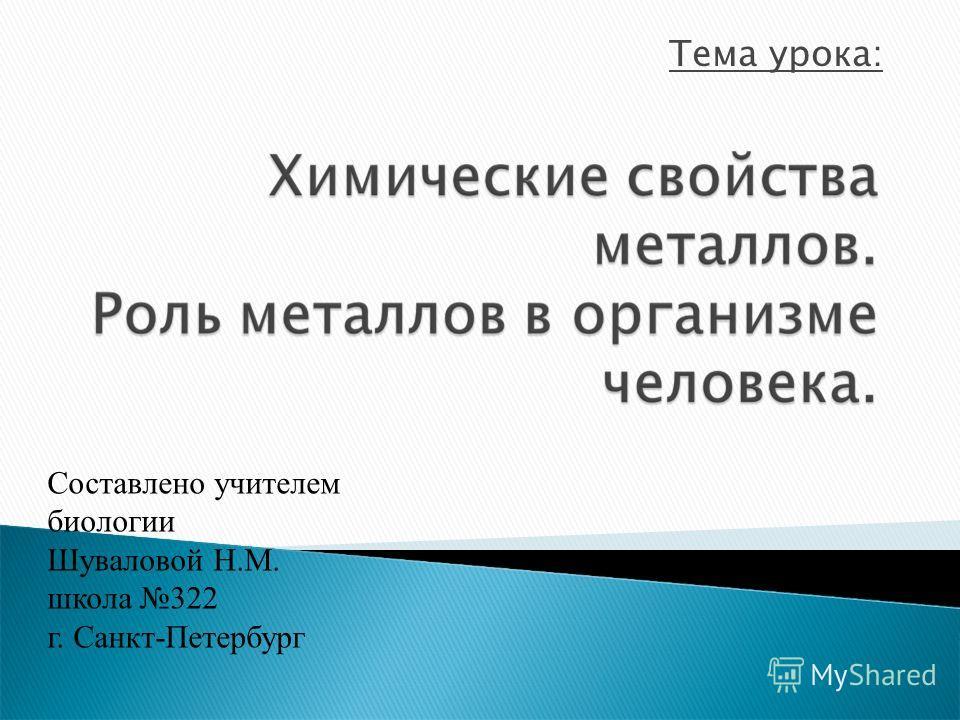 Тема урока: Составлено учителем биологии Шуваловой Н.М. школа 322 г. Санкт-Петербург