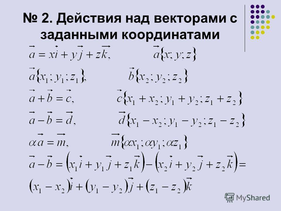 2. Действия над векторами с заданными координатами