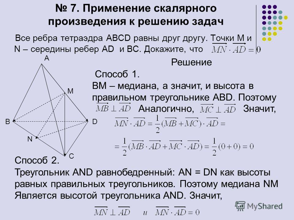 7. Применение скалярного произведения к решению задач Все ребра тетраэдра ABCD равны друг другу. Точки М и N – середины ребер AD и ВС. Докажите, что В А С D N M Решение Способ 1. ВМ – медиана, а значит, и высота в правильном треугольнике ABD. Поэтому