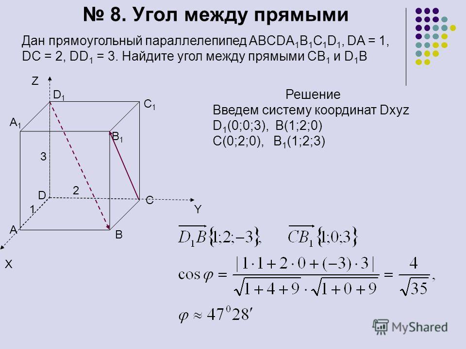 8. Угол между прямыми Дан прямоугольный параллелепипед ABCDA 1 B 1 C 1 D 1, DA = 1, DC = 2, DD 1 = 3. Найдите угол между прямыми СВ 1 и D 1 B D1D1 A1A1 B1B1 C1C1 D A C B 1 2 3 Решение Введем систему координат Dxyz D 1 (0;0;3), B(1;2;0) C(0;2;0), B 1