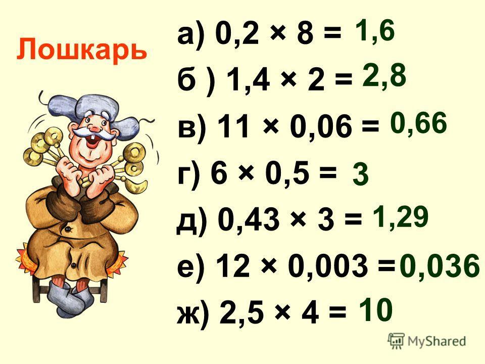 Лошкарь а) 0,2 × 8 = б ) 1,4 × 2 = в) 11 × 0,06 = г) 6 × 0,5 = д) 0,43 × 3 = е) 12 × 0,003 = ж) 2,5 × 4 = 1,6 2,8 0,66 3 1,29 0,036 10