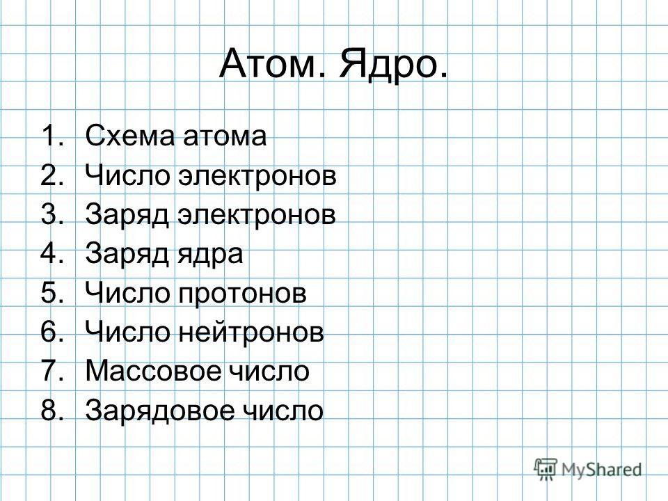 Атом. Ядро. 1. Схема атома 2. Число электронов 3. Заряд электронов 4. Заряд ядра 5. Число протонов 6. Число нейтронов 7. Массовое число 8. Зарядовое число