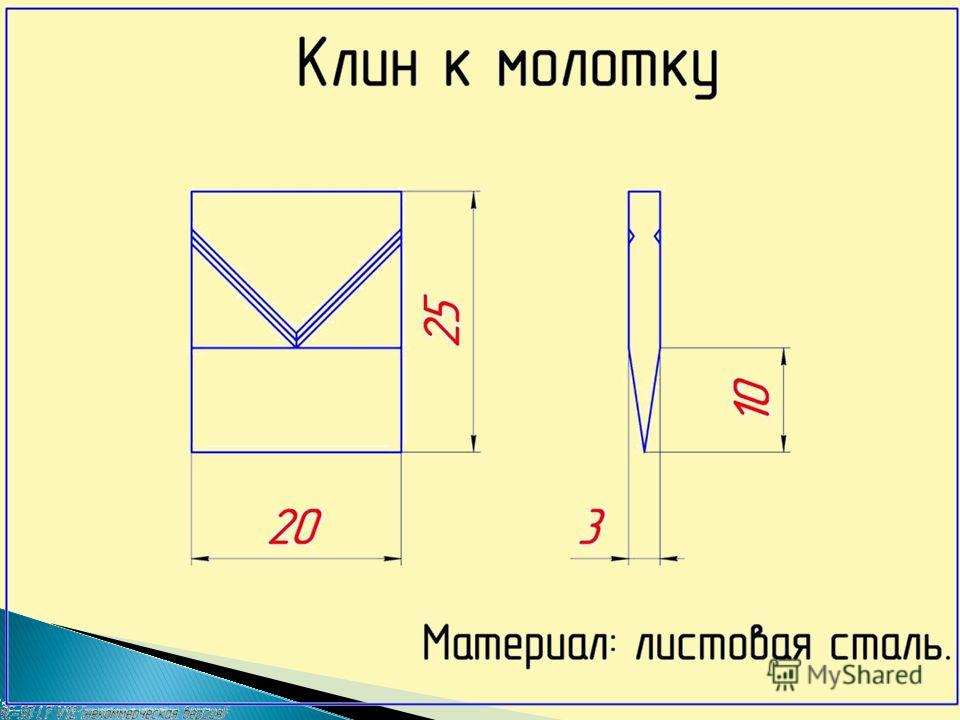 План работы Опилить по разметке Подобрать металл Разметить по шаблону Рубить по разметке 1 2 3 4