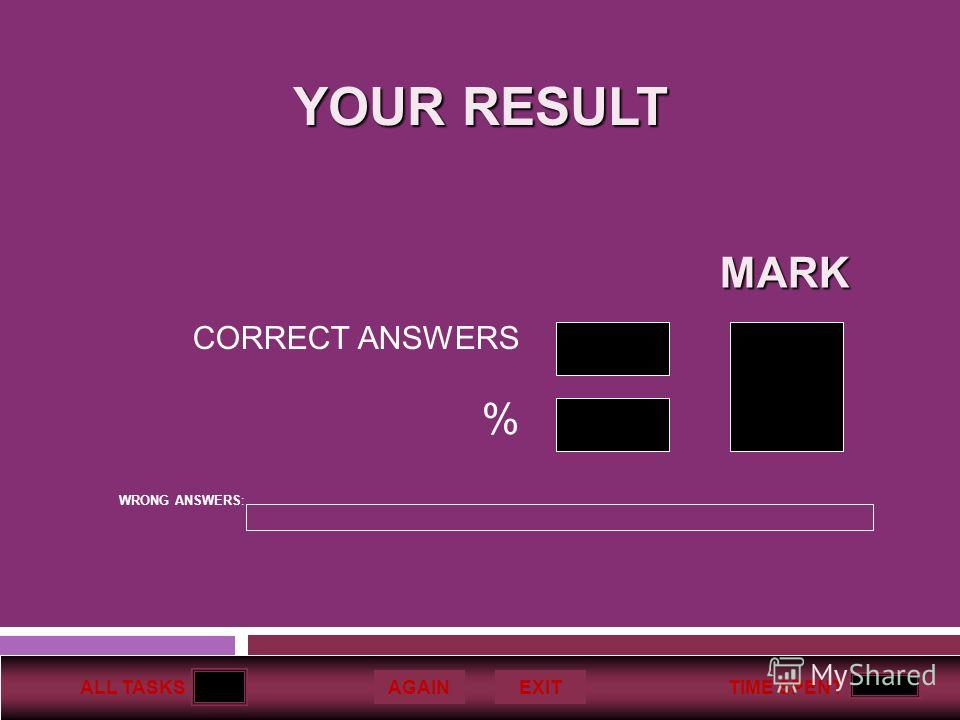 ALL TASKSTIME SPENT AGAINEXIT CORRECT ANSWERS % MARK YOUR RESULT WRONG ANSWERS: