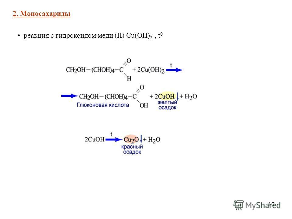 10 реакция с гидроксидом меди (II) Cu(OH) 2, t 0 2. Моносахариды