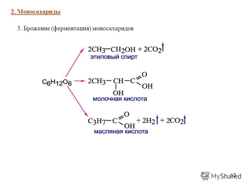 12 3. Брожение (ферментация) моносахаридов 2. Моносахариды