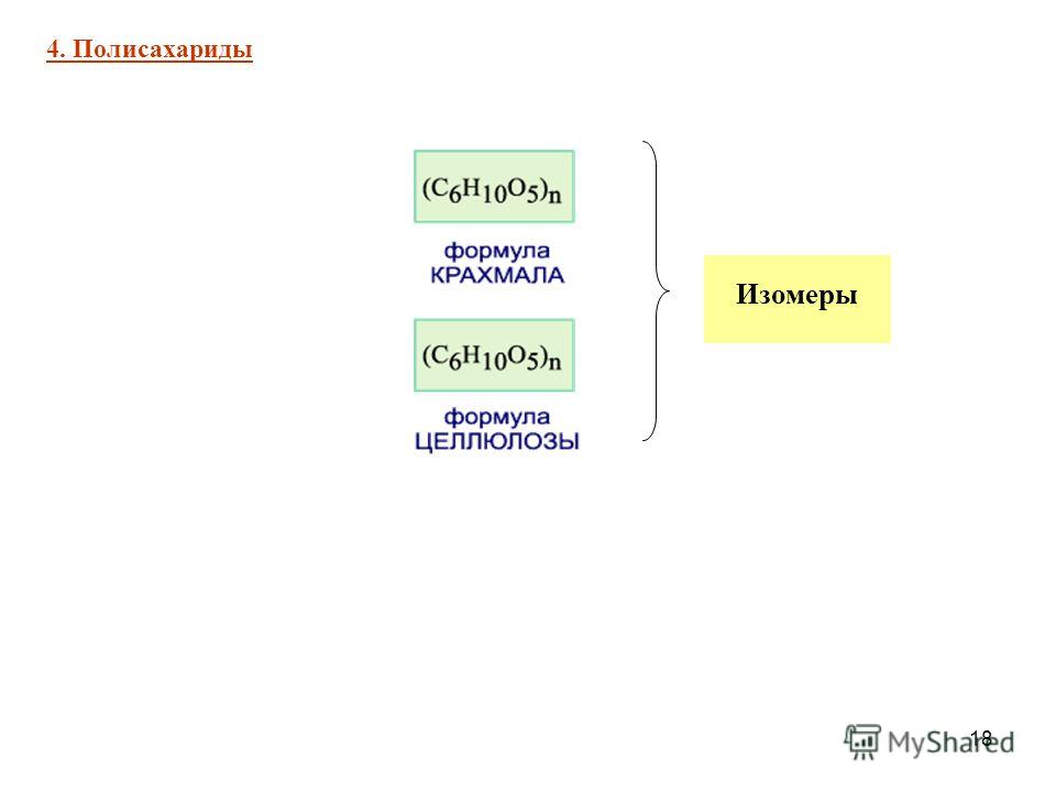 18 4. Полисахариды Изомеры