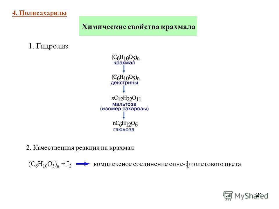 21 Химические свойства крахмала 4. Полисахариды 1. Гидролиз 2. Качественная реакция на крахмал (С 6 Н 10 О 5 ) n + I 2 комплексное соединение сине-фиолетового цвета