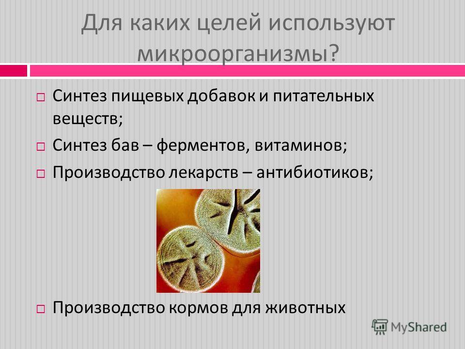 Для каких целей используют микроорганизмы ? Синтез пищевых допавок и питательных веществ ; Синтез пав – ферментов, витаминов ; Производство лекарств – антибиотиков ; Производство кормов для животных