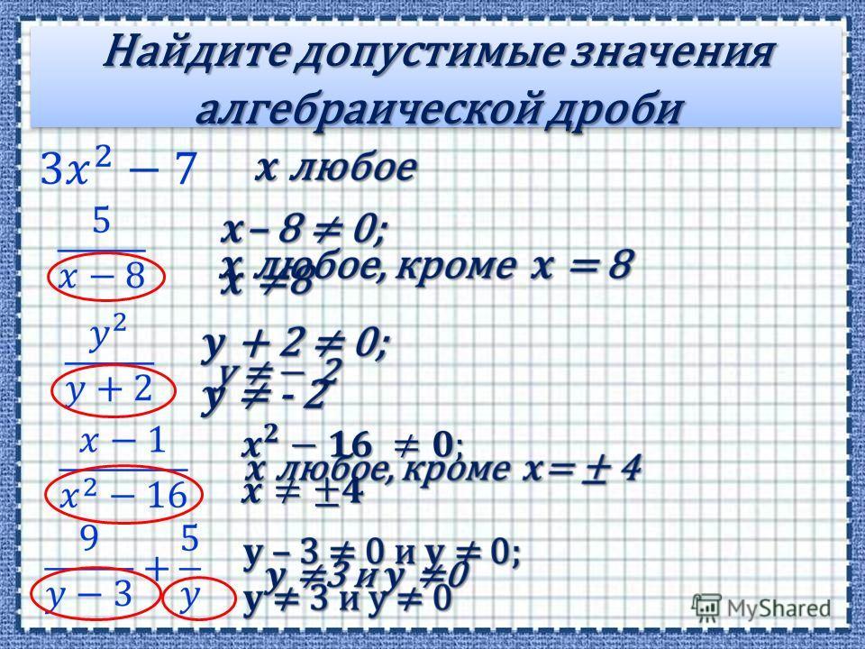 Найдите допустимые значения алгебраической дроби