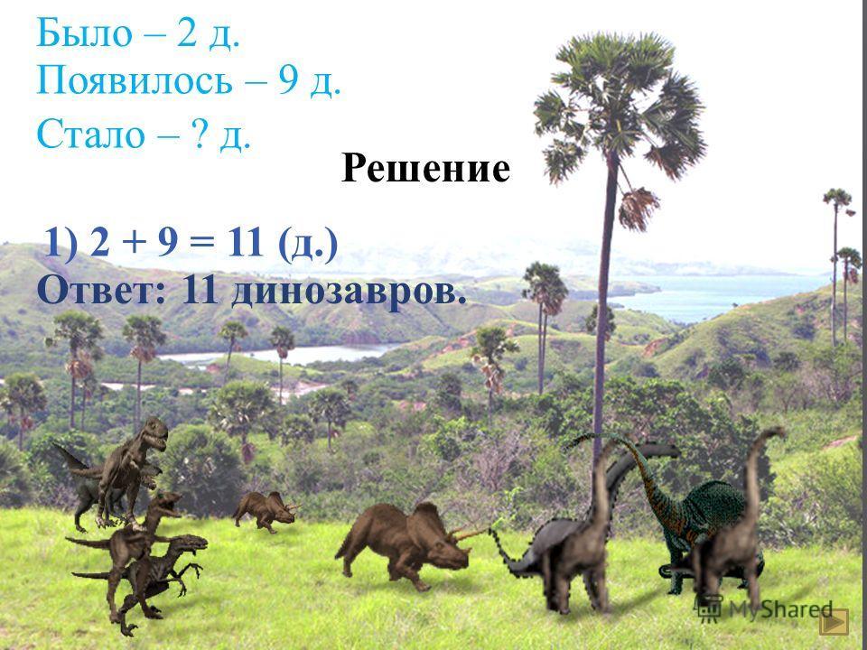 Было – 2 д. Появилось – 9 д. Стало – ? д. Решение 1) 2 + 9 = 11 ( д.) Ответ : 11 динозавров.