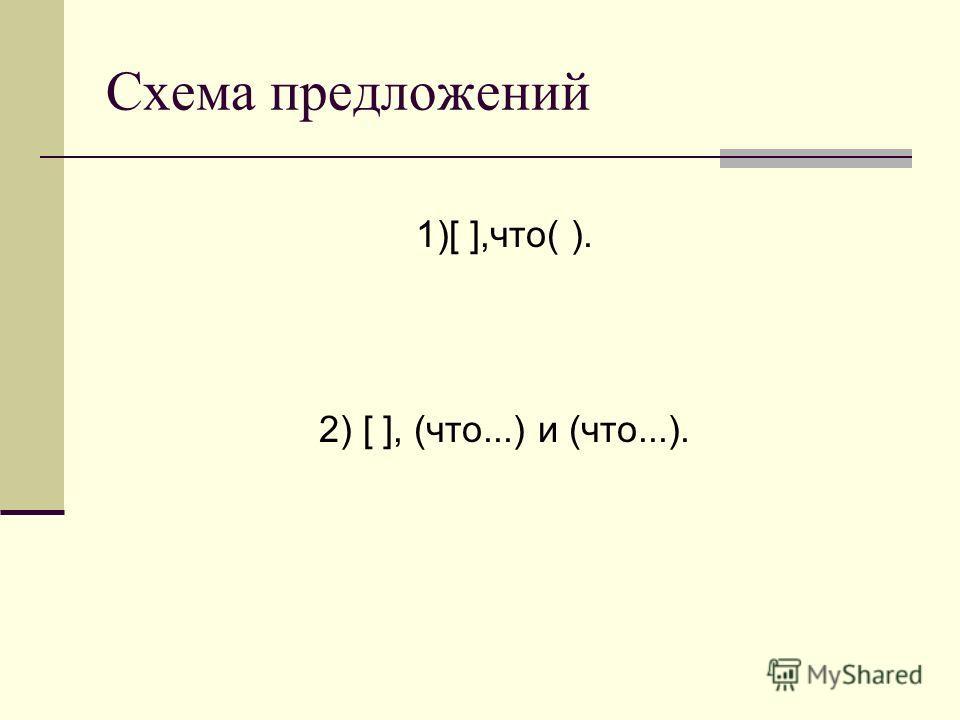 Схема предложений 1)[ ],что( ). 2) [ ], (что...) и (что...).