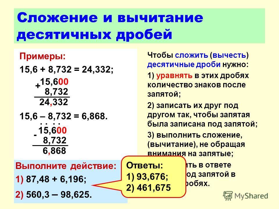 Сложение и вычитание десятичных дробей Примеры: 15,6 + 8,732 = 24,332; 15,6 – 8,732 = 6,868. Чтобы сложить (вычесть) десятичные дроби нужно: 1) уравнять в этих дробях количество знаков после запятой; 2) записать их друг под другом так, чтобы запятая