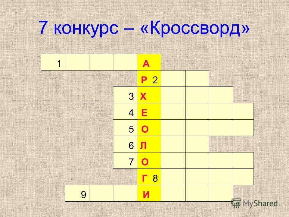 7 конкурс – «Кроссворд» 1 А Р 2 3Х 4 Е 5 О 6Л 7 О Г 8 9 И