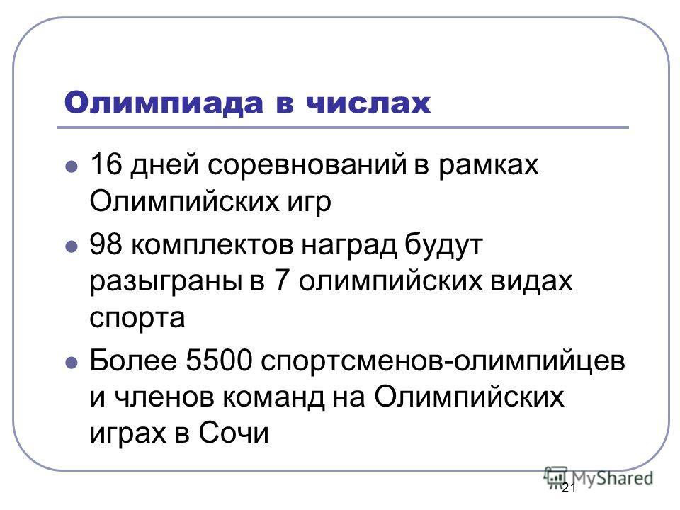 21 Олимпиада в числах 16 дней соревнований в рамках Олимпийских игр 98 комплектов наград будут разыграны в 7 олимпийских видах спорта Более 5500 спортсменов-олимпийцев и членов команд на Олимпийских играх в Сочи