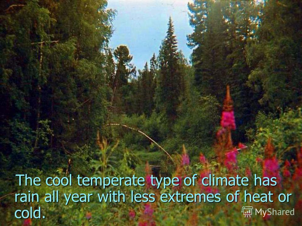 The cool temperate type of climate has rain all year with less extremes of heat or cold.