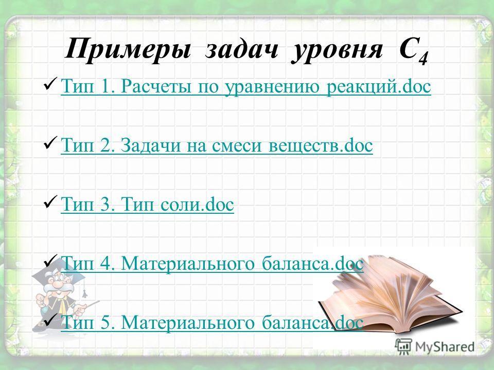 Примеры задач уровня С 4 Тип 1. Расчеты по уравнению реакций.doc Тип 2. Задачи на смеси веществ.doc Тип 3. Тип соли.doc Тип 4. Материального баланса.doc Тип 5. Материального баланса.doc