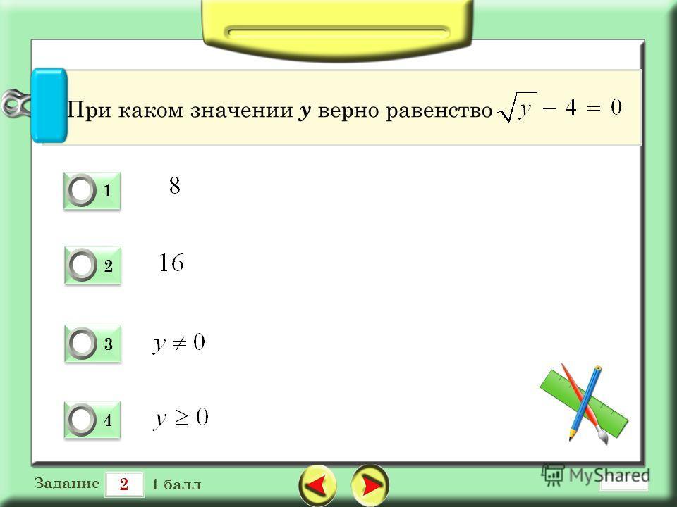 2 Задание 1 балл 1 1 0 2 2 0 3 3 0 4 4 0 При каком значении у верно равенство