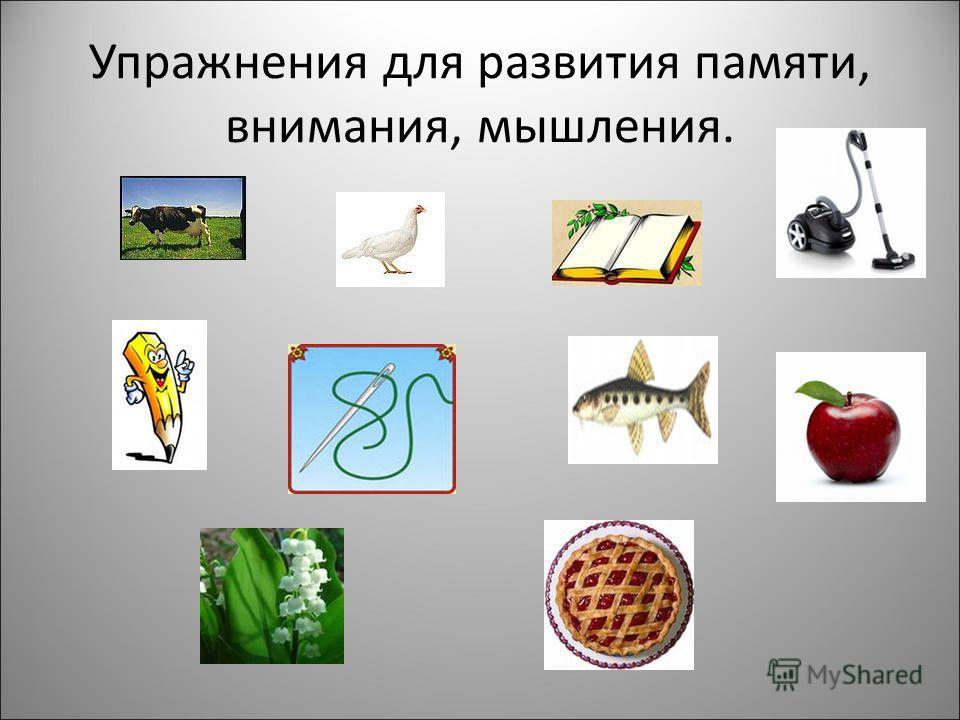 Упражнения для развития памяти, внимания, мышления.