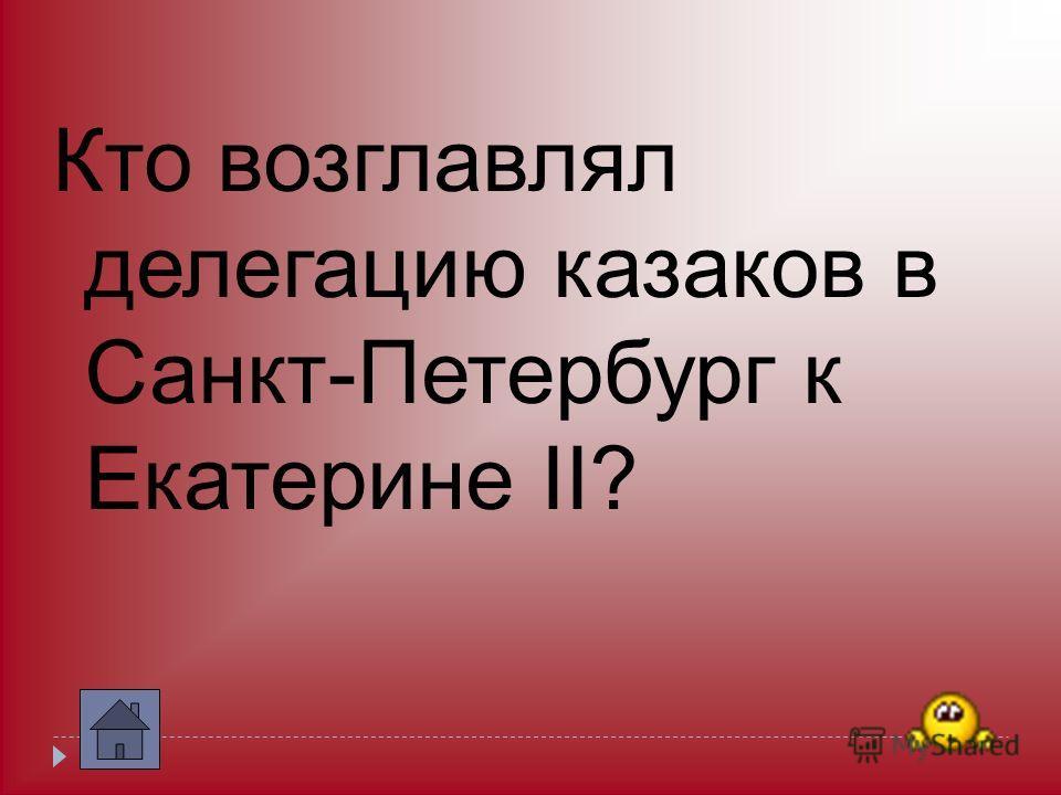 Кто возглавлял делегацию казаков в Санкт-Петербург к Екатерине II?