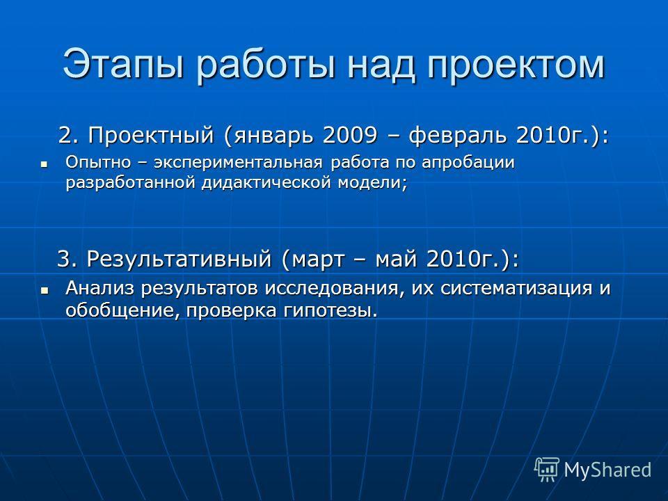 Этапы работы над проектом 2. Проектный (январь 2009 – февраль 2010 г.): Опытно – экспериментальная работа по апробации разработанной дидактической модели; Опытно – экспериментальная работа по апробации разработанной дидактической модели; 3. Результат