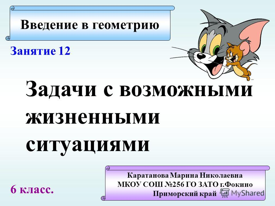 Введение в геометрию Каратанова Марина Николаевна МКОУ СОШ 256 ГО ЗАТО г.Фокино Приморский край Занятие 12 Задачи с возможными жизненными ситуациями 6 класс.