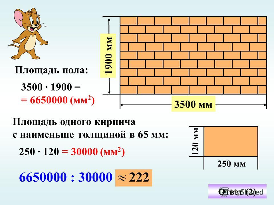 3500 мм 1900 мм 120 мм 250 мм 3500 · 1900 = Площадь пола: = 6650000 (мм 2 ) Площадь одного кирпича с наименьше толщиной в 65 мм: 250 · 120 == 30000 (мм 2 ) Ответ (2) 6650000 : 30000222