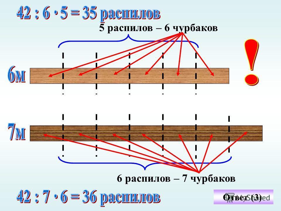 5 распилов – 6 чурбаков 6 распилов – 7 чурбаков Ответ (3)