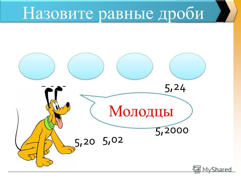 5,2000 Назовите равные дроби 5, 2 5,02 5,200 5,24 5,20 5,002 Молодцы