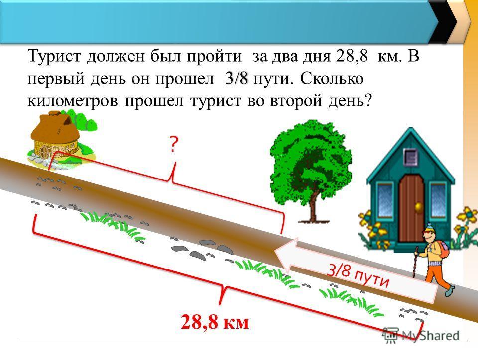 3/8 Турист должен был пройти за два дня 28,8 км. В первый день он прошел 3/8 пути. Сколько километров прошел турист во второй день? 28,8 км 3/8 пути ?