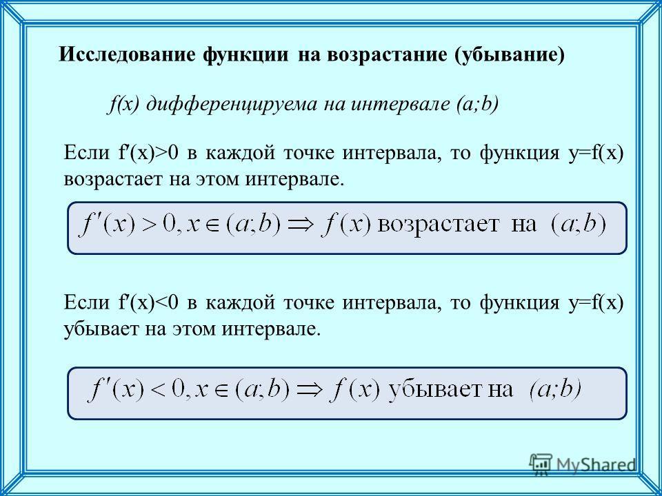 Если f(x)>0 в каждой точке интервала, то функция y=f(x) возрастает на этом интервале. Если f(x)