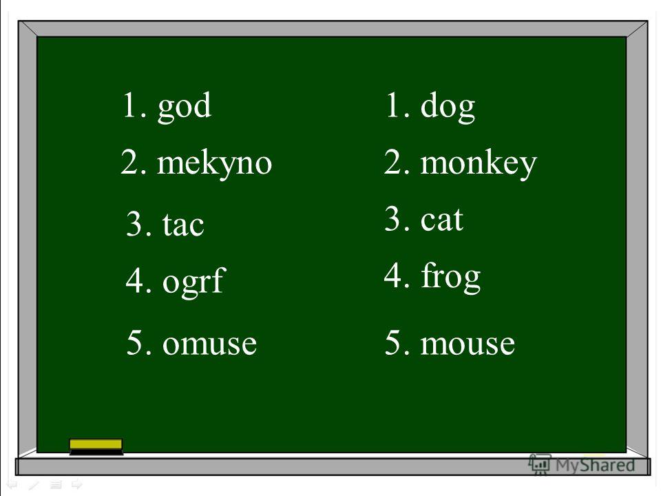 1. god 2. mekyno 3. tac 4. ogrf 5. omuse 1. dog 2. monkey 3. cat 4. frog 5. mouse