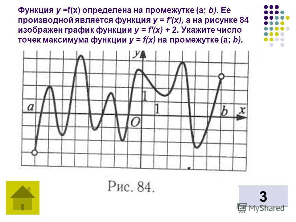 Функция у =f(х) определена на промежутке (а; b). Ее производной является функция у = f'(x), a на рисунке 84 изображен график функции у = f'(x) + 2. Укажите число точек максимума функции у = f(x) на промежутке (а; b). 3