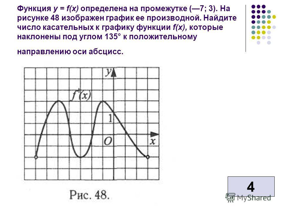 Функция у = f(x) определена на промежутке (7; 3). На рисунке 48 изображен график ее производной. Найдите число касательных к графику функции f(x), которые наклонены под углом 135° к положительному направлению оси абсцисс. 4
