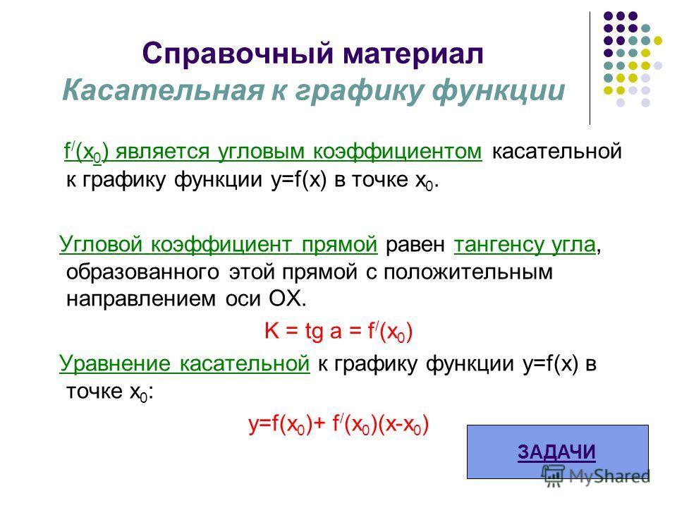 Справочный материал Касательная к графику функции f / (x 0 ) является угловым коэффициентом касательной к графику функции у=f(x) в точке х 0. Угловой коэффициент прямой равен тангенсу угла, образованного этой прямой с положительным направлением оси О