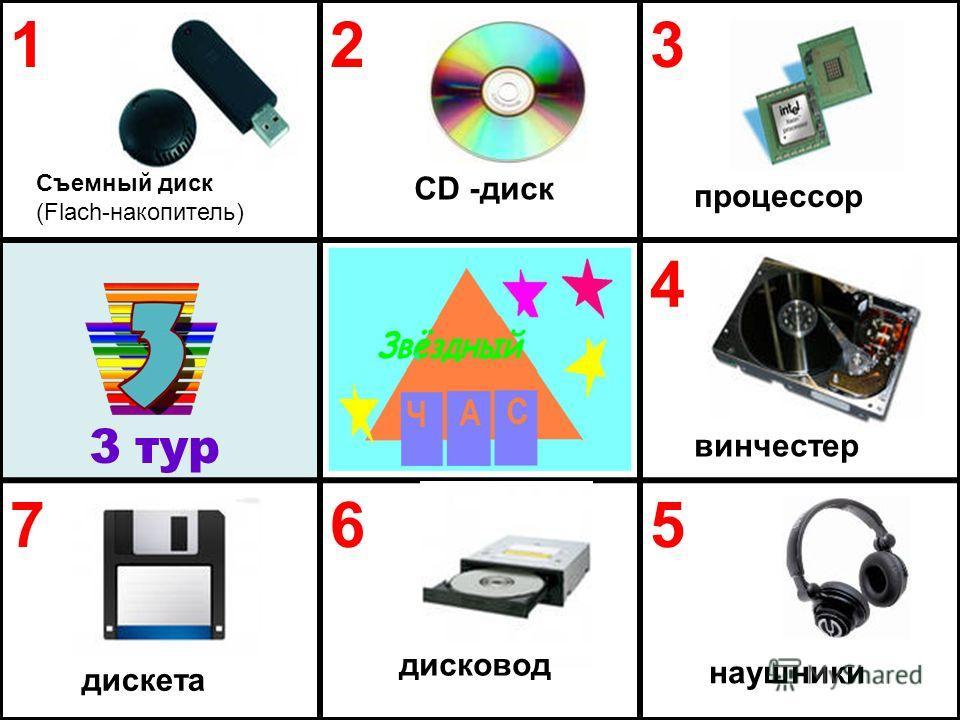123 4 765 3 тур Съемный диск (Flach-накопитель) CD -диск наушники дисковод дискета винчестер процессор