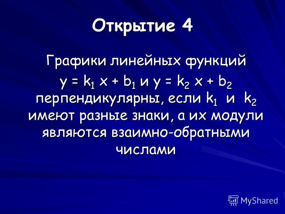 Открытие 4 Графики линейных функций y = k 1 x + b 1 и y = k 2 x + b 2 перпендикулярны, если k 1 и k 2 имеют разные знаки, а их модули являются взаимно-обратными числами