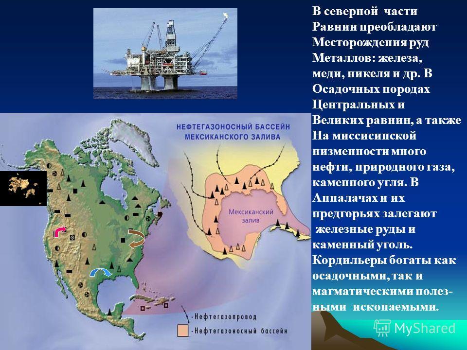 В северной части Равнин преобладают Месторождения руд Металлов: железа, меди, никеля и др. В Осадочных породах Центральных и Великих равнин, а также На миссисипской низменности много нефти, природного газа, каменного угля. В Аппалачах и их предгорьях