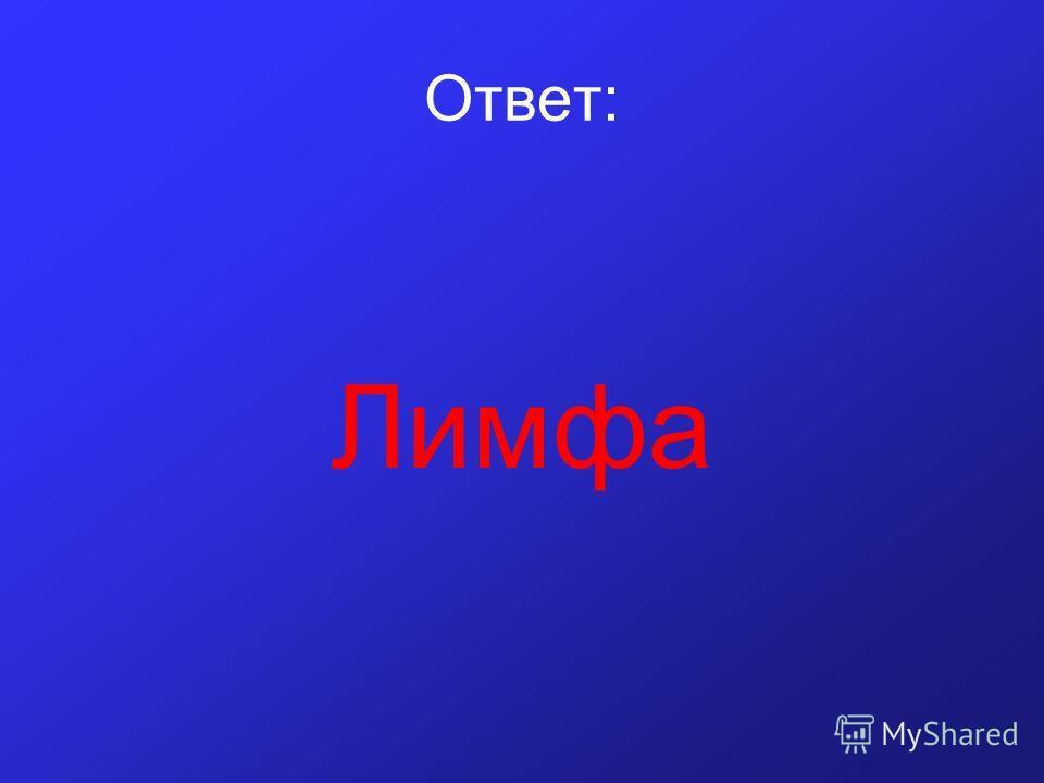 Ответ: Лимфа