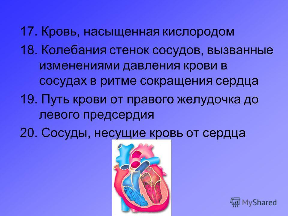 17. Кровь, насыщенная кислородом 18. Колебания стенок сосудов, вызванные изменениями давления крови в сосудах в ритме сокращения сердца 19. Путь крови от правого желудочка до левого предсердия 20. Сосуды, несущие кровь от сердца