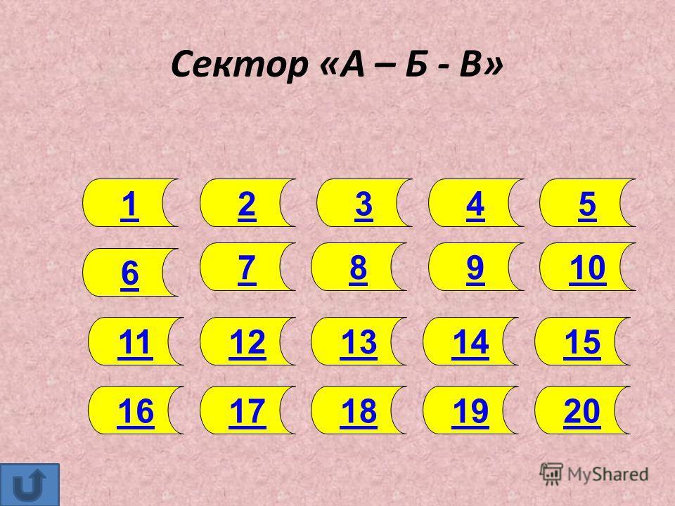 Сектор «А – Б - В» 1 1312 20191817 6 11 16 987 1514 2345 10