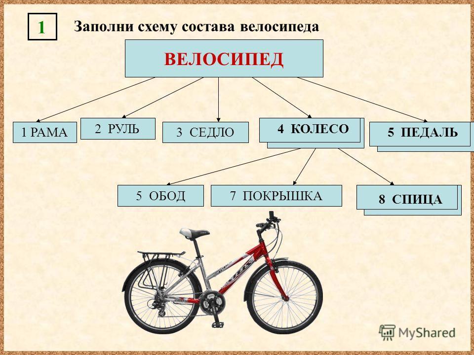 8 СПИЦА ВЕЛОСИПЕД 1 РАМА 2 РУЛЬ 3 СЕДЛО 5 ПЕДАЛЬ 4 КОЛЕСО Заполни схему состава велосипеда 1 5 ОБОД7 ПОКРЫШКА