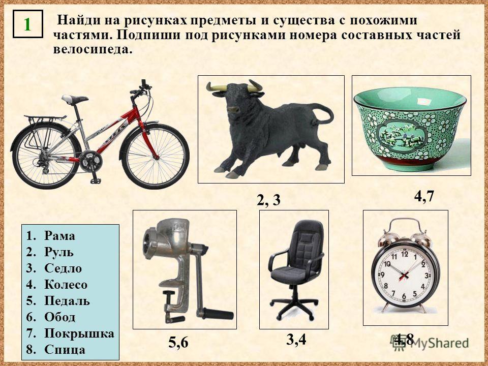 1. Рама 2. Руль 3. Седло 4. Колесо 5. Педаль 6. Обод 7. Покрышка 8. Спица 2, 3 4,7 5,6 3,44,8 Найди на рисунках предметы и существа с похожими частями. Подпиши под рисунками номера составных частей велосипеда. 1