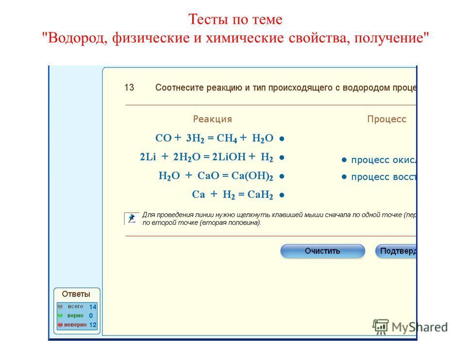 Тесты по теме Водород, физические и химические свойства, получение