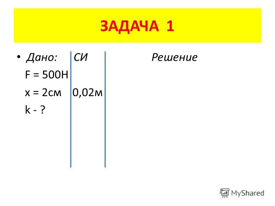 ЗАДАЧА 1 Дано: СИ Решение F = 500H x = 2 см 0,02 м k - ?