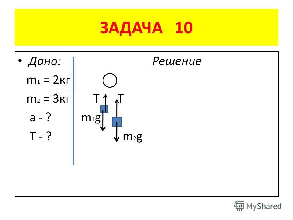 ЗАДАЧА 10 Дано: Решение m 1 = 2 кг m 2 = 3 кг Т Т a - ? m 1 g T - ? m 2 g