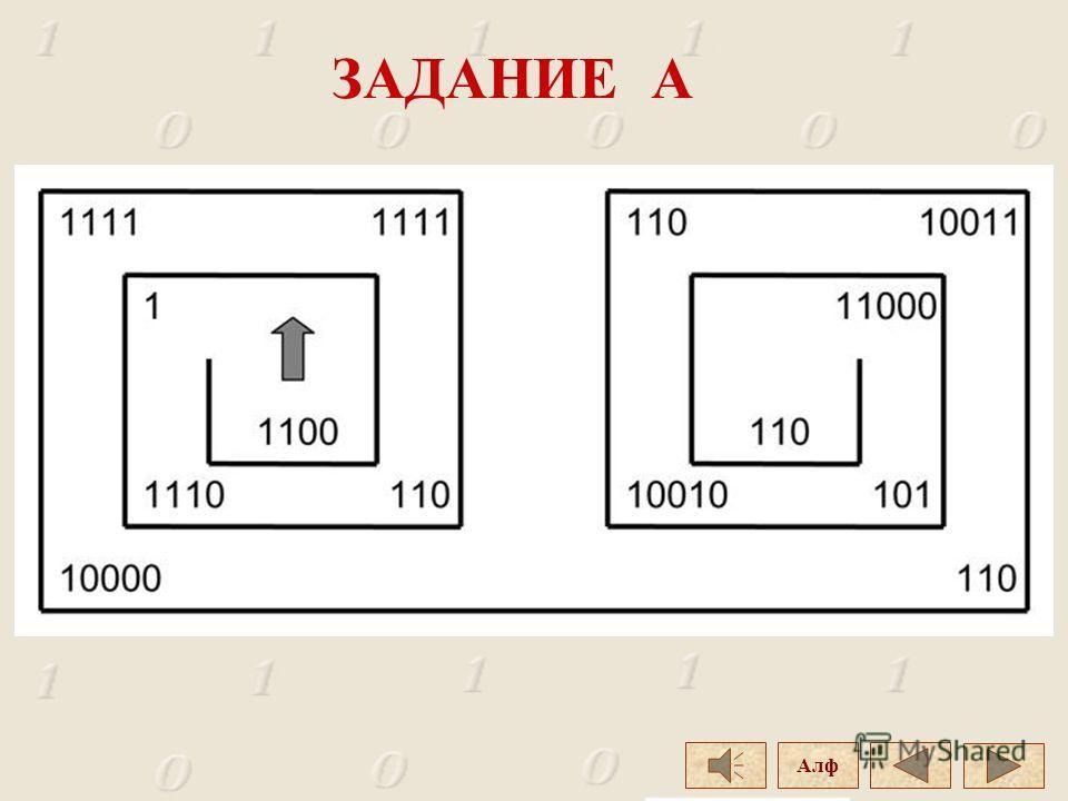 Дан лабиринт. Определите выражение, которое получите при прохождении лабиринта, собирая числа и переводя их десятичную систему счисления. Полученные десятичные числа замените соответствующими буквами русского алфавита с тем же порядковым номером. Зад
